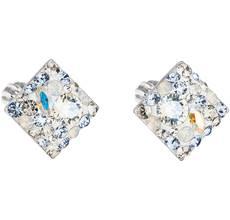 Strieborné náušnice kôstka s krištáľmi Swarovski modrý kosoštvorec 31169.3  light sapphire d1f455379a3