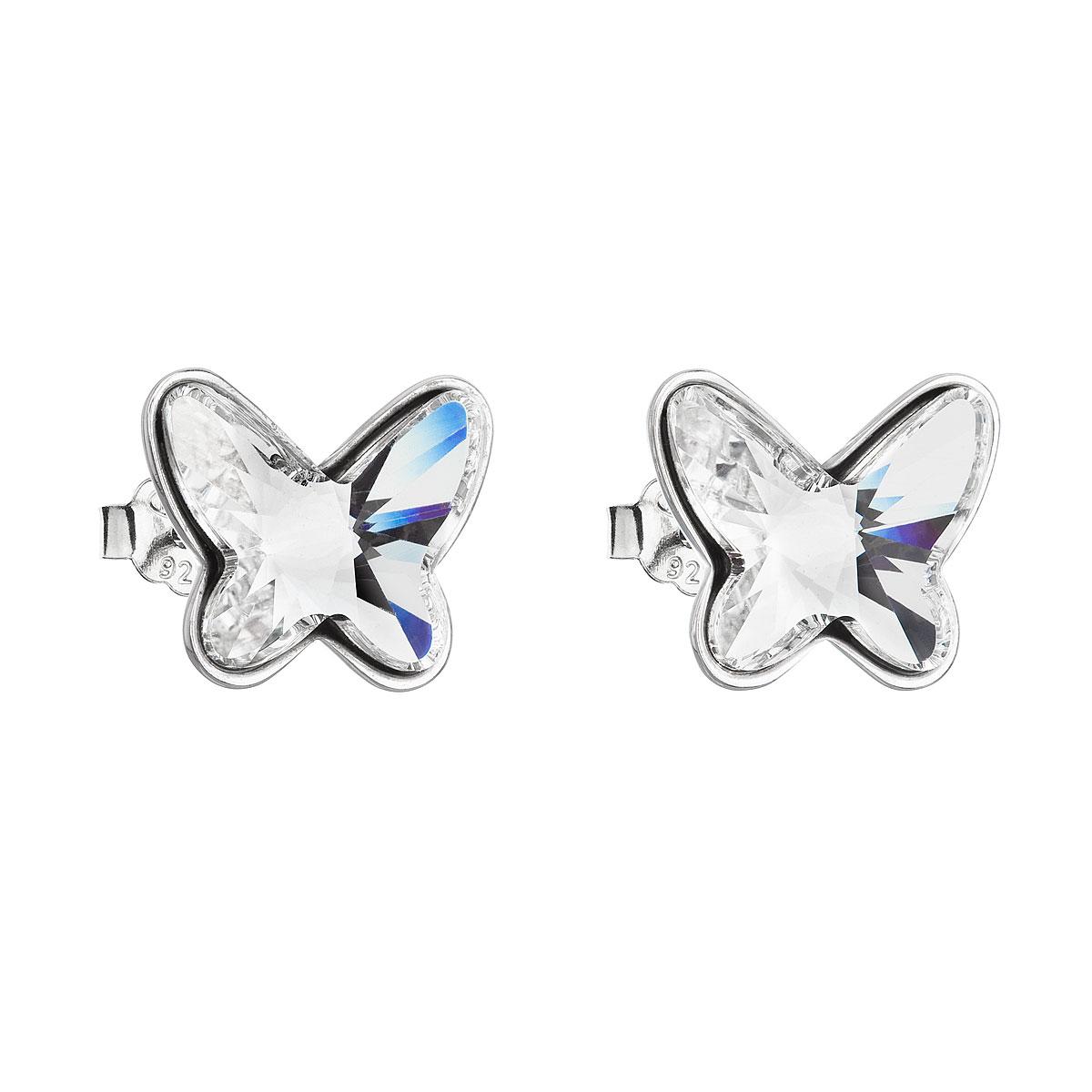 Strieborné náušnice kôstka s krištáľmi Swarovski biely motýľ 31251.1