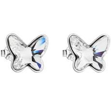 Strieborné náušnice kôstka s krištáľmi Swarovski biely motýľ 31251.1 6168fa9571d
