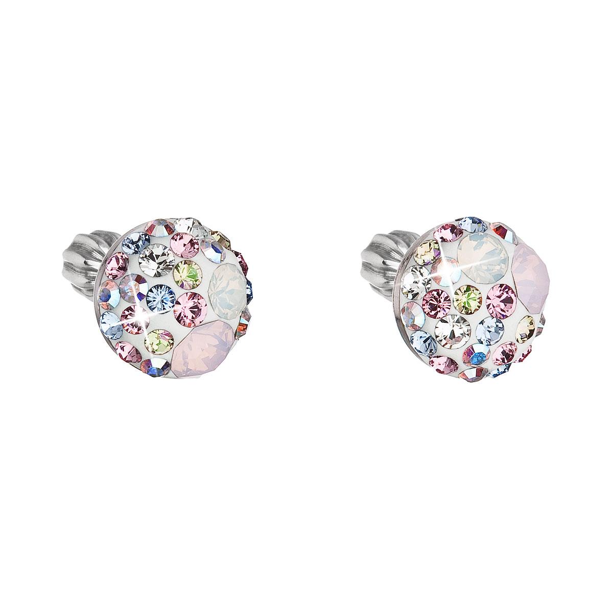 Strieborné náušnice kôstky s krištálmi Swarovski ružové okrúhle 31336.3 magic rose