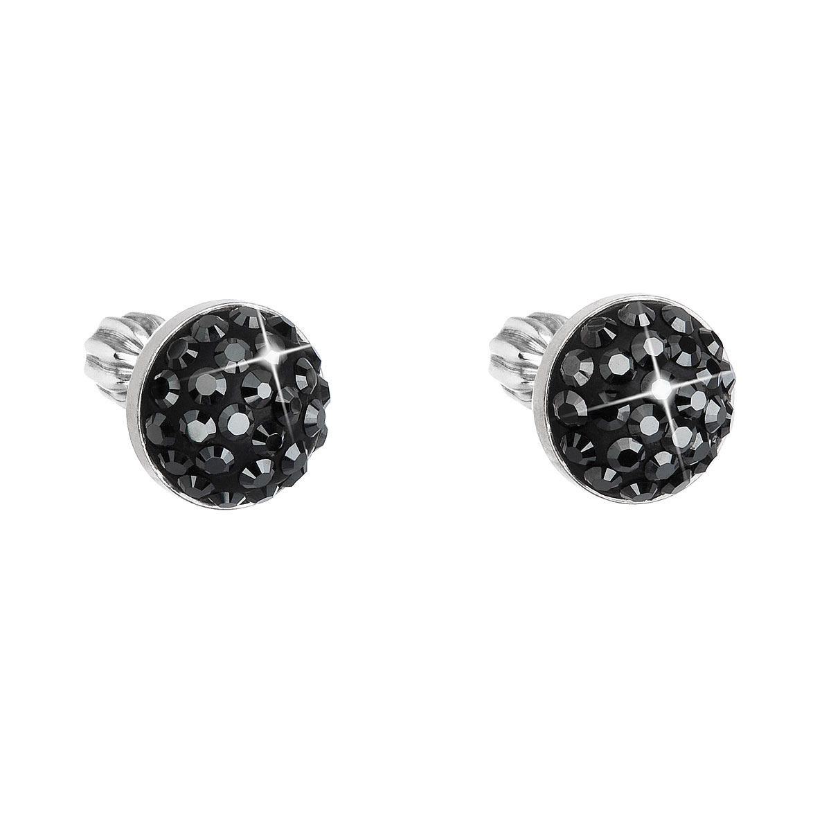 Strieborné náušnice kôstky s krištálmi Swarovski čierne okrúhle 31336.5 hematite