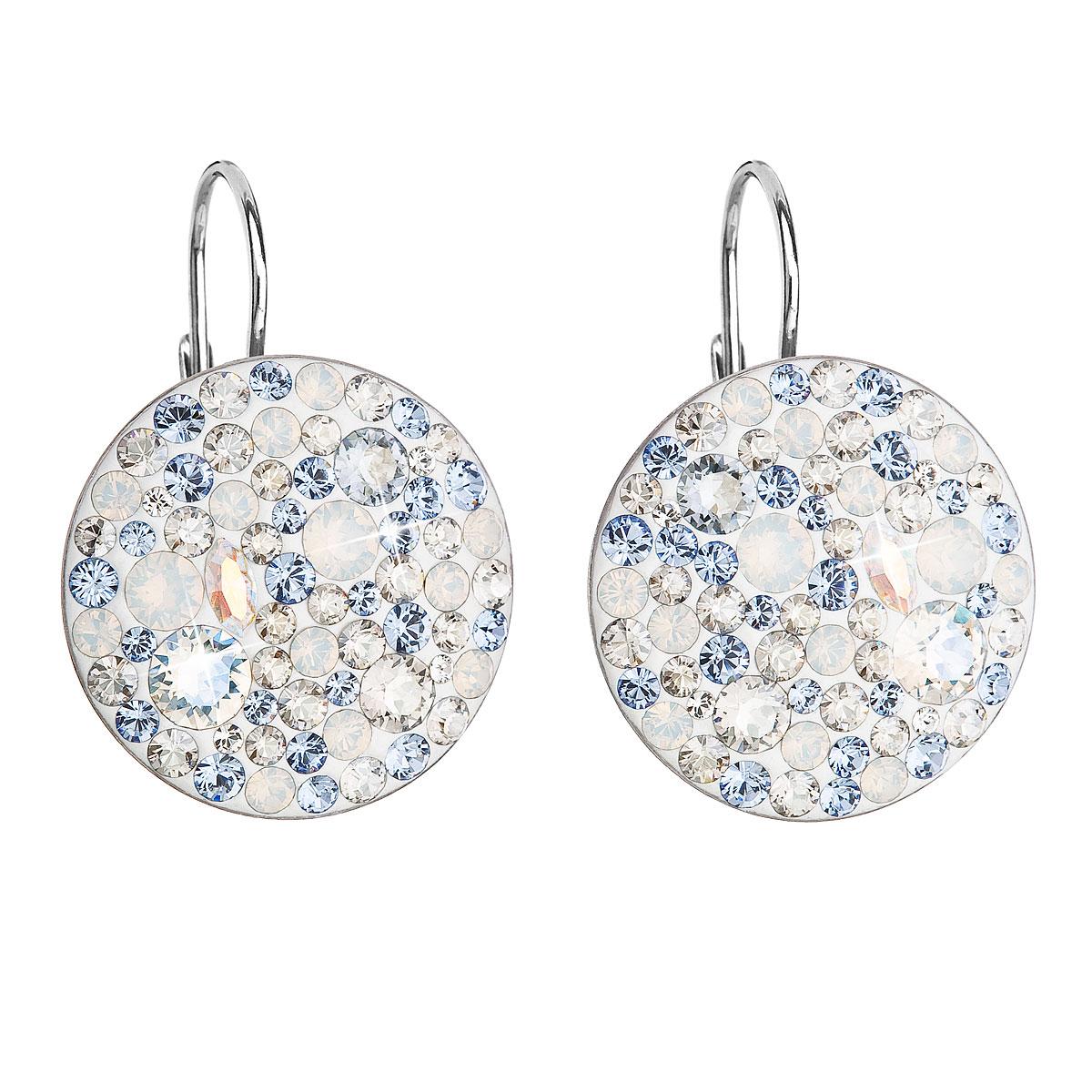 Strieborné náušnice visiace s krištálmi Swarovski modré okrúhle 31161.3 light sapphire