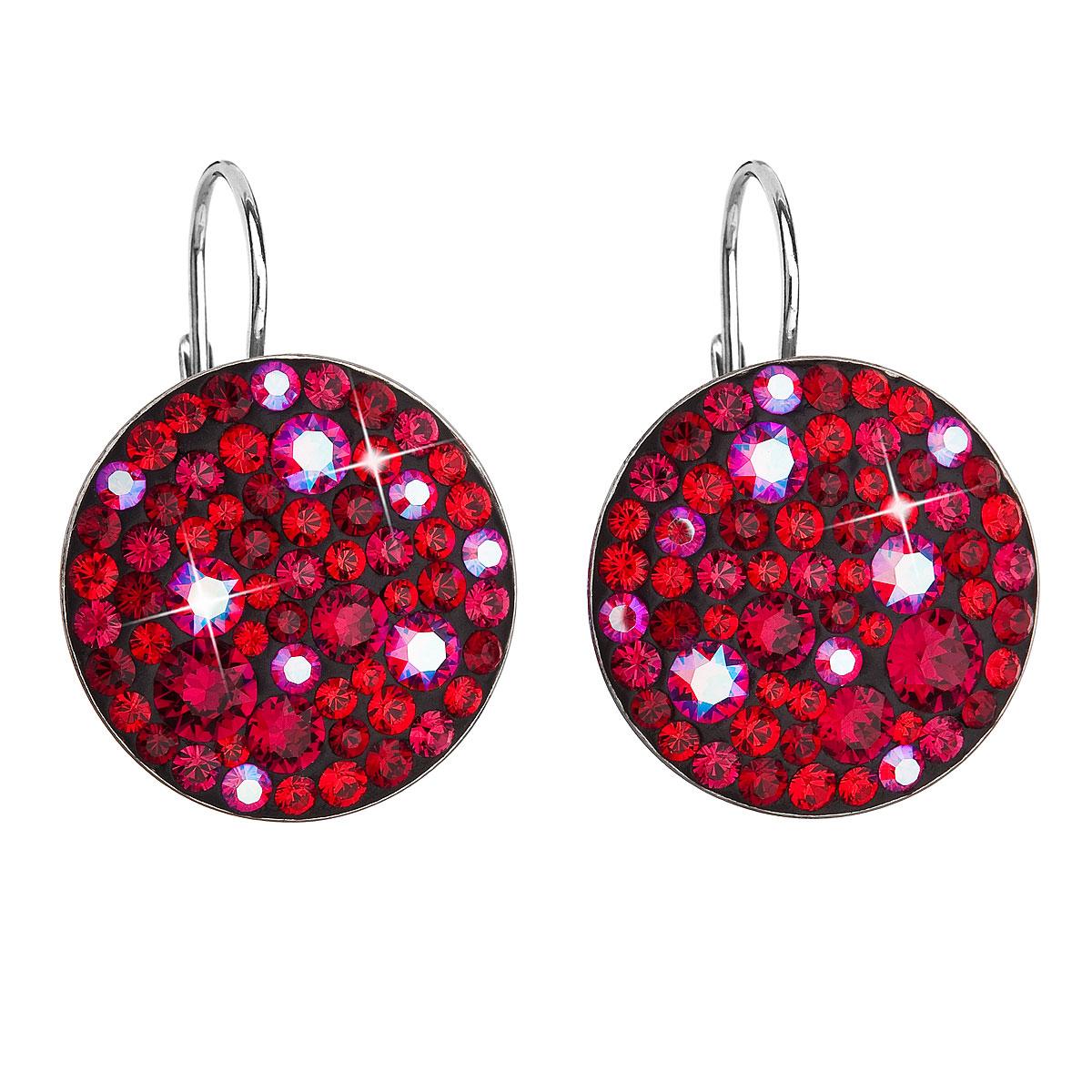 Strieborné náušnice visiace s krištálmi Swarovski červené okrúhle 31161.3 cherry