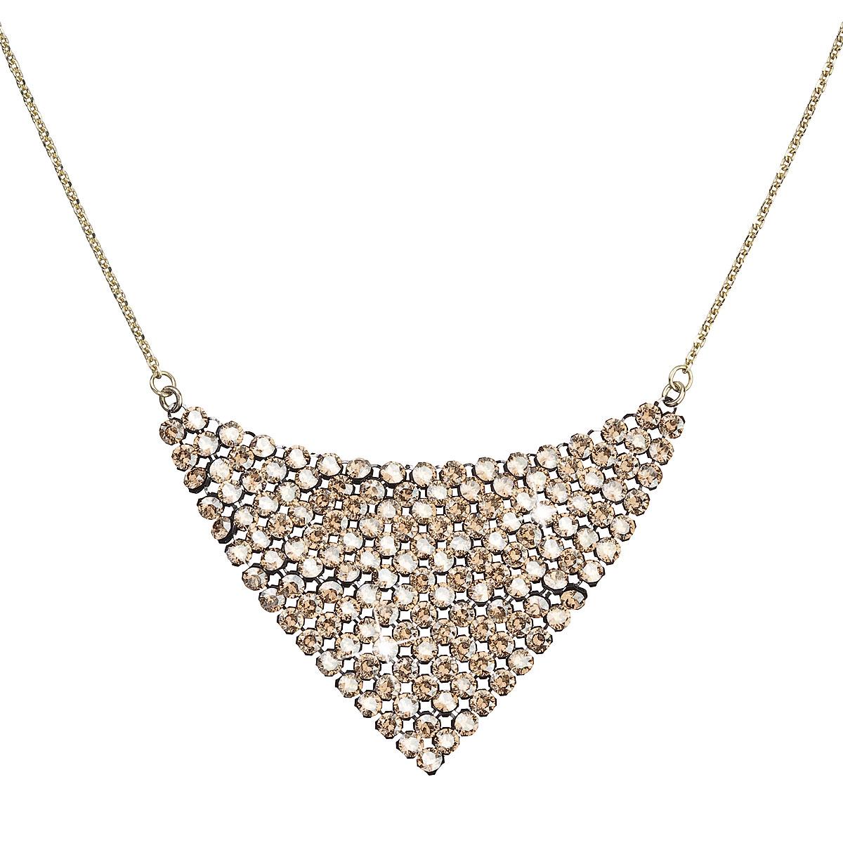 Strieborný náhrdelník s krištáľmi Swarovski zlatý 32019.5