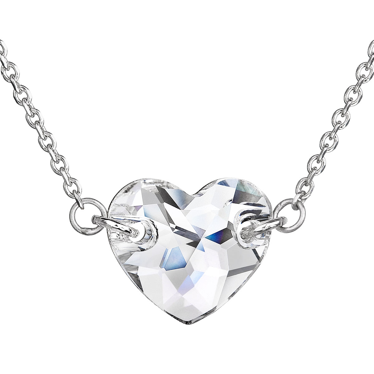 Strieborný náhrdelník s krištáľmi Swarovski biele srdce 32020.1