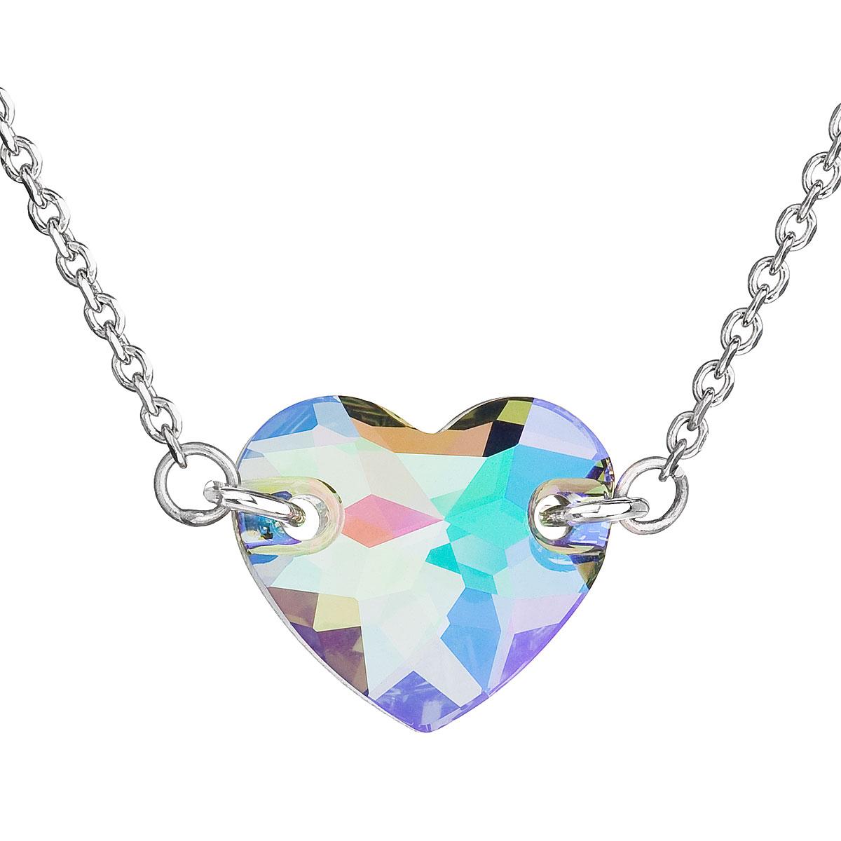 Strieborný náhrdelník s krištáľmi Swarovski zeleno-fialové srdce 32020.5
