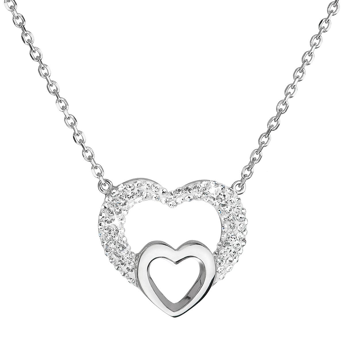 Strieborný náhrdelník s krištáľmi Swarovski biele srdce 32032.1