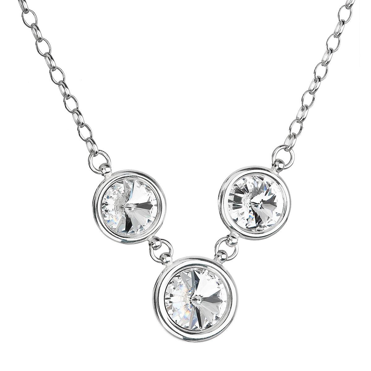Strieborný náhrdelník s krištáľmi Swarovski biely 32033.1