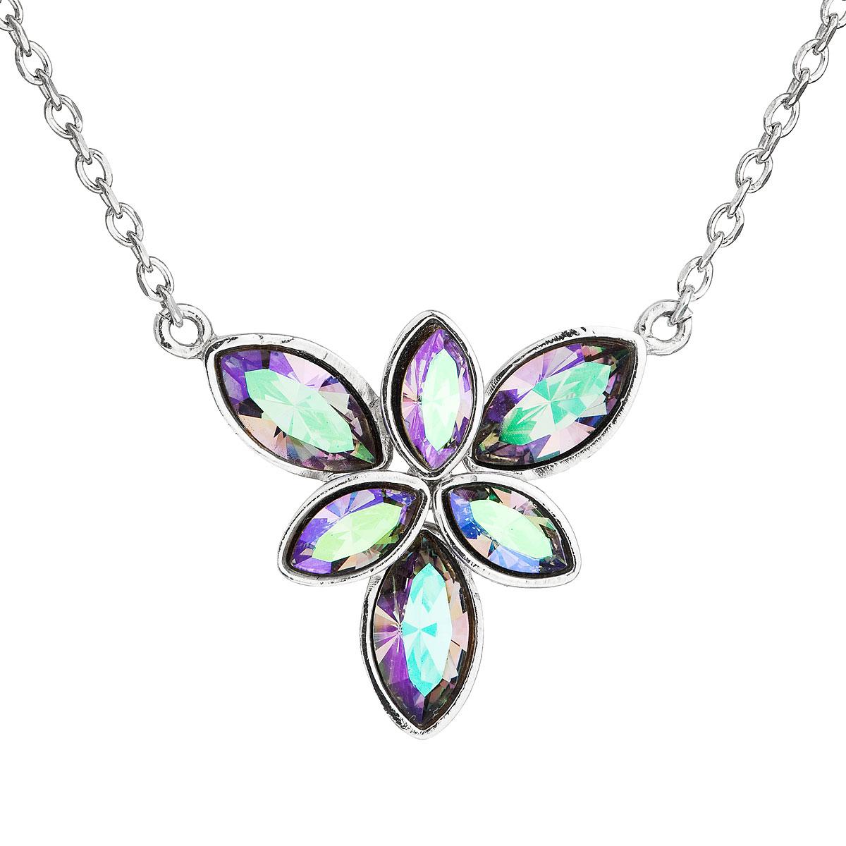 Strieborný náhrdelník s krištáľmi Swarovski modrá kytička 32047.5