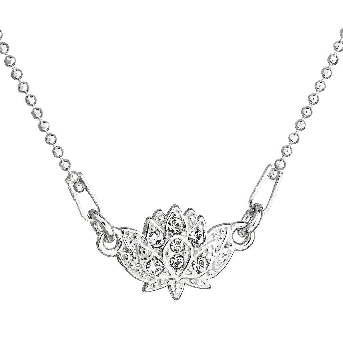 Strieborný náhrdelník s krištáľmi Swarovski biela kytička 32056.1