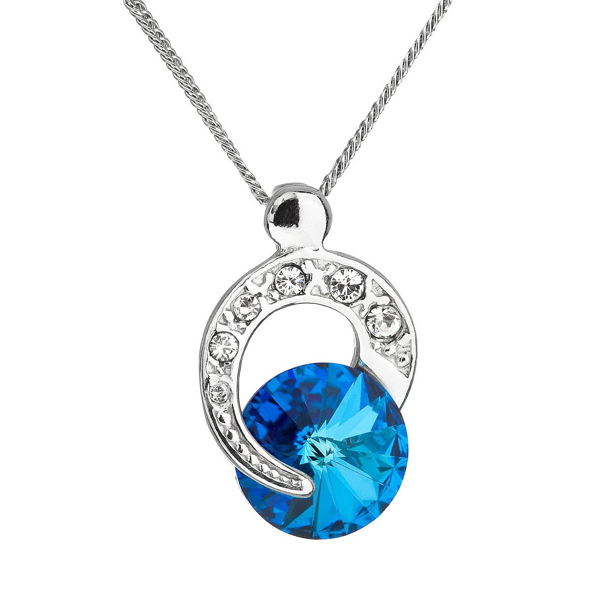 Strieborný náhrdelník s krištálom Swarovski modrý okrúhly 32048.5