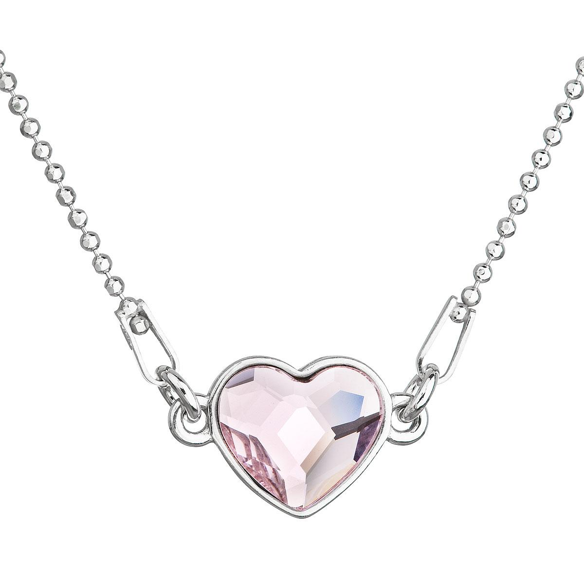 Strieborný náhrdelník s krištálom Swarovski ružové srdce 32061.3 rosaline