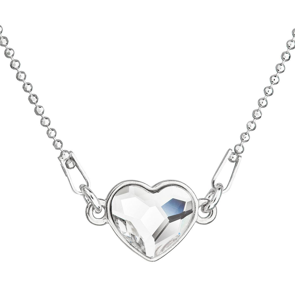 Strieborný náhrdelník s krištálom Swarovski biele srdce 32061.1
