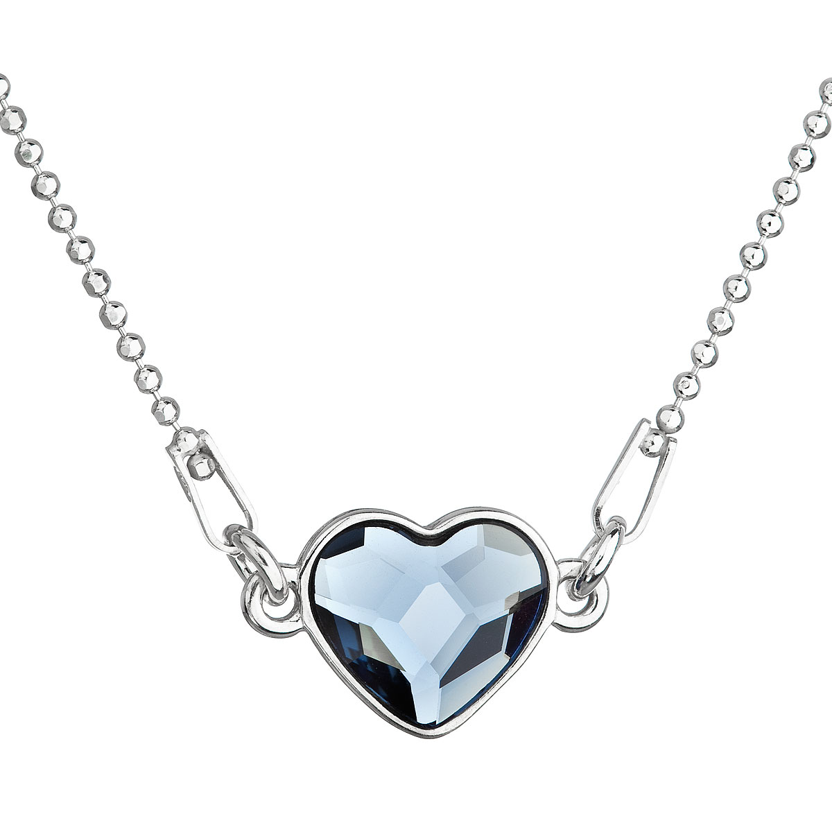 Strieborný náhrdelník s krištálom Swarovski modré srdce 32061.3