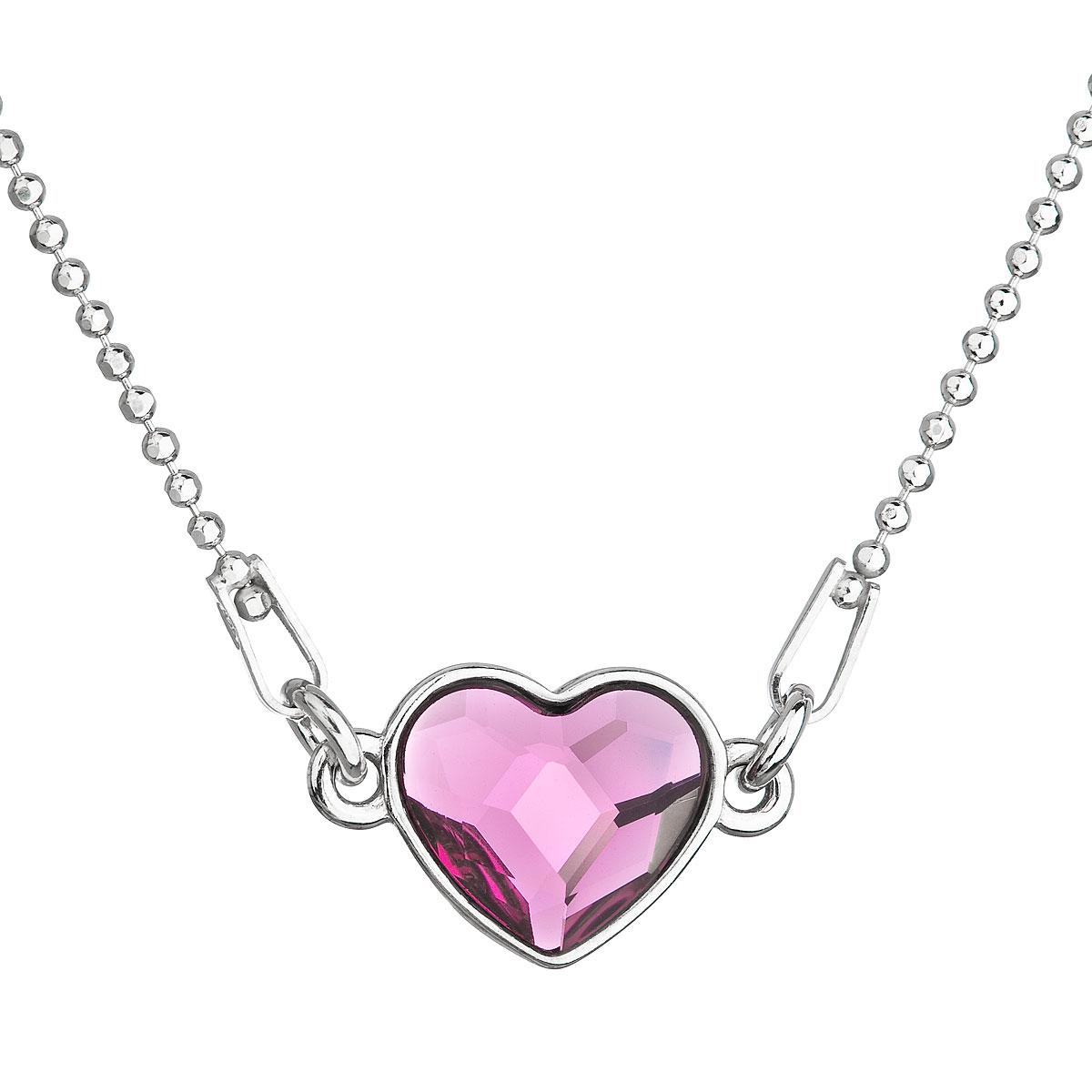 Strieborný náhrdelník s krištálom Swarovski ružové srdce 32061.3 fuchsia