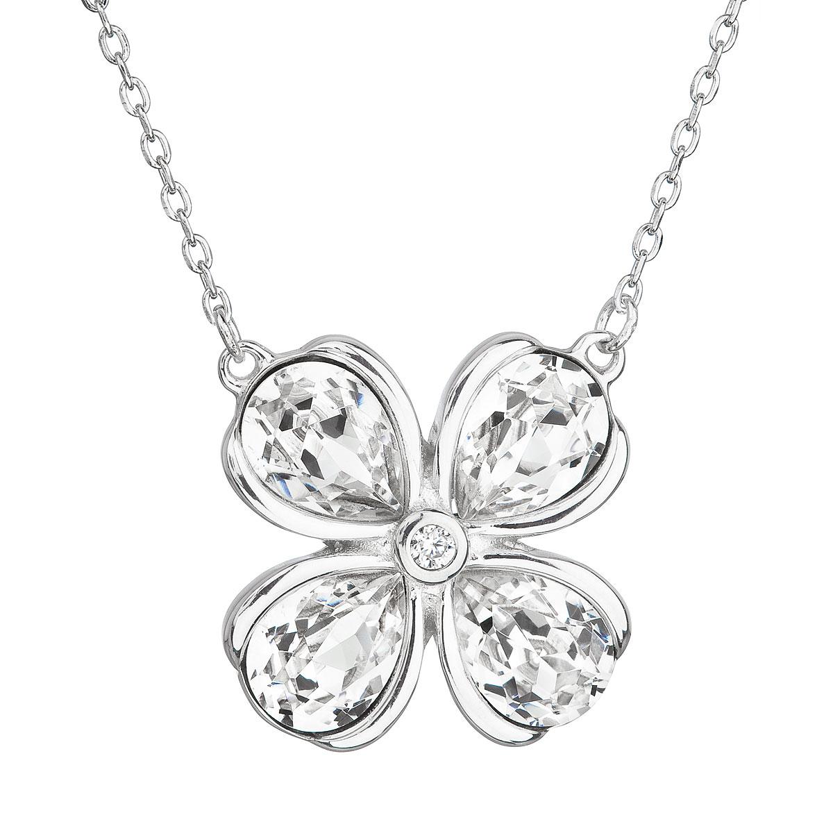 Strieborný náhrdelník s krištáľmi Swarovski biela kytička 32066.1