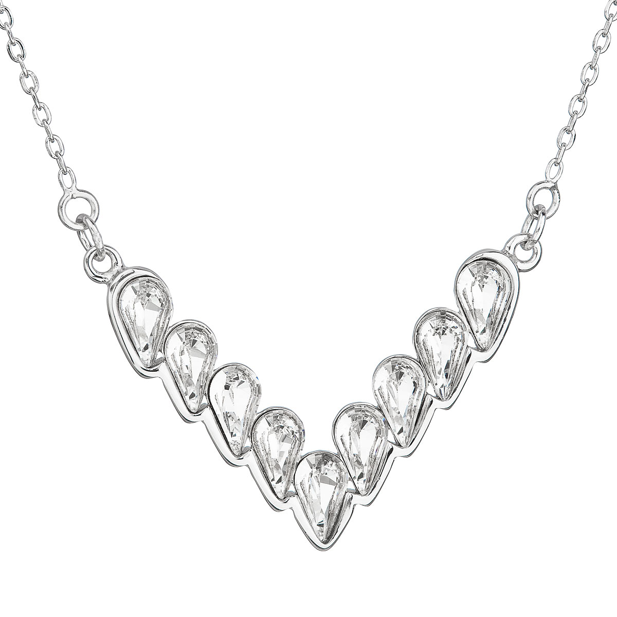 Strieborný náhrdelník s krištáľmi Swarovski biely 32067.1