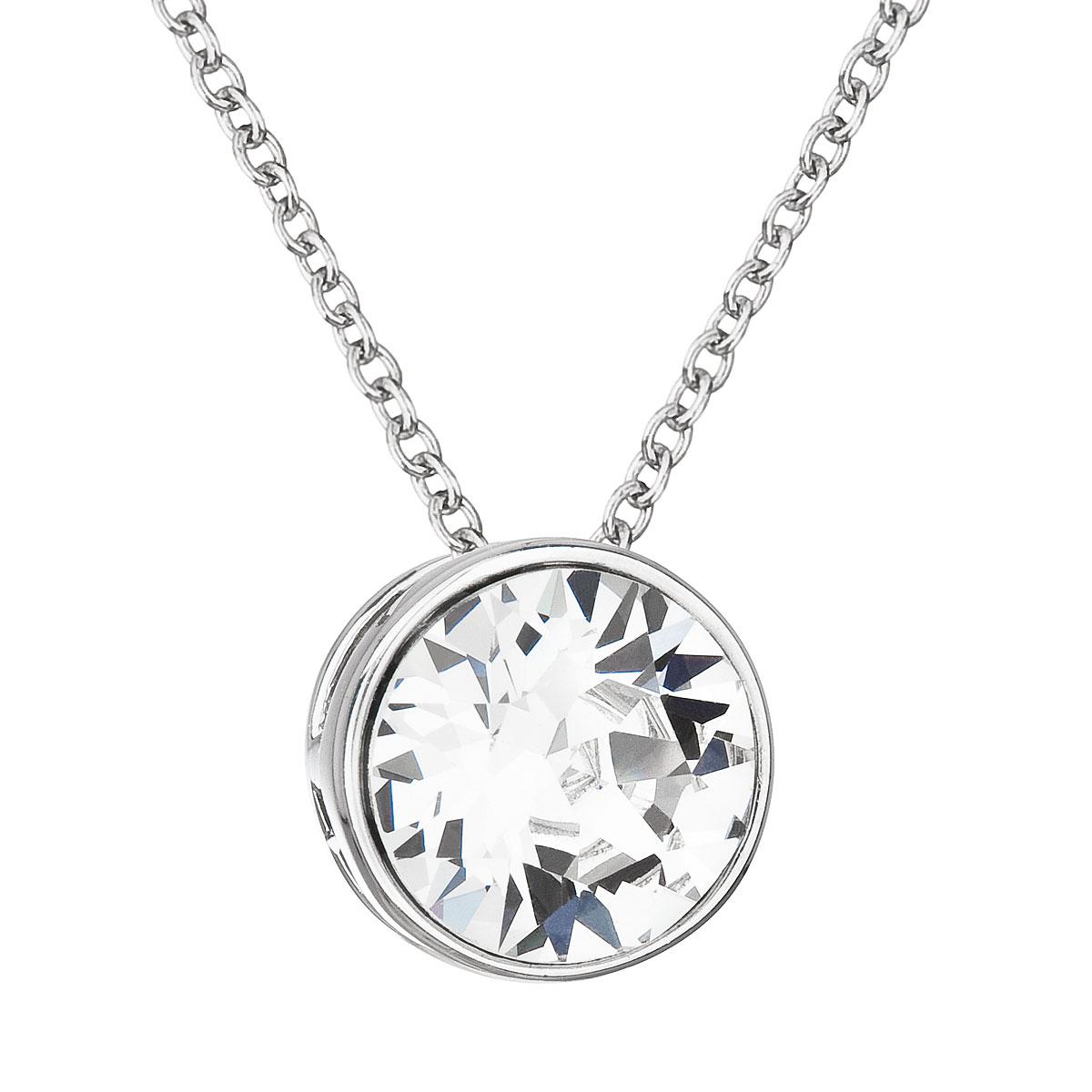 Strieborný náhrdelník s krištálom Swarovski biely okrúhly 32069.1