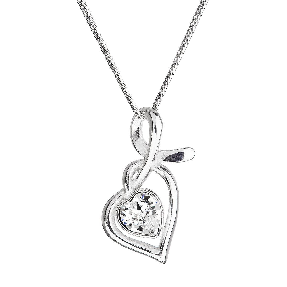 Strieborný náhrdelník so Swarovski kryštálmi srdce biele 32071.1