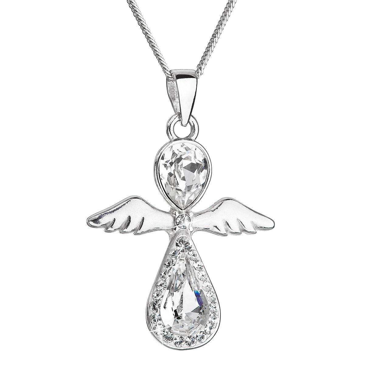 Strieborný náhrdelník anjel so Swarovski kryštálmi biely 32072.1