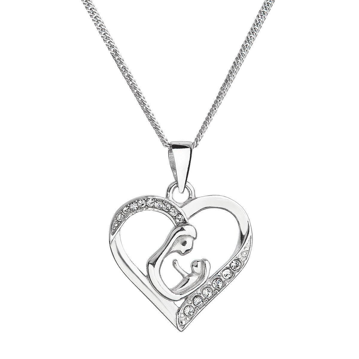 Strieborný náhrdelník matka a dieťa sa Swarovski kryštály biely 32073.1
