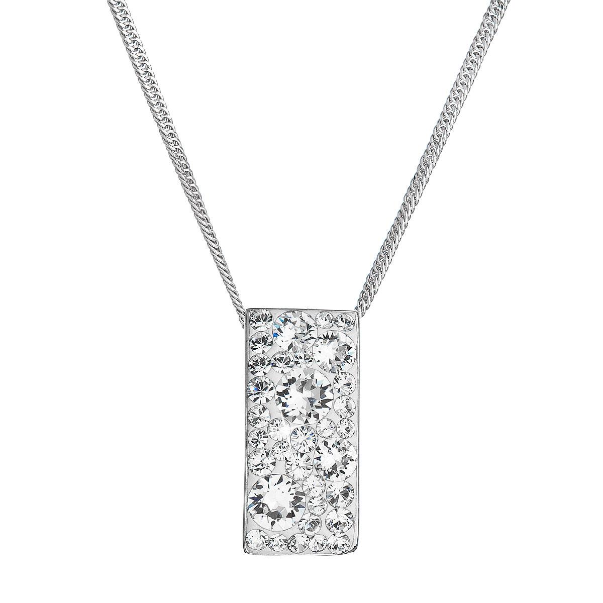 Strieborný náhrdelník so Swarovski kryštálmi biely obdĺžnik 32074.1