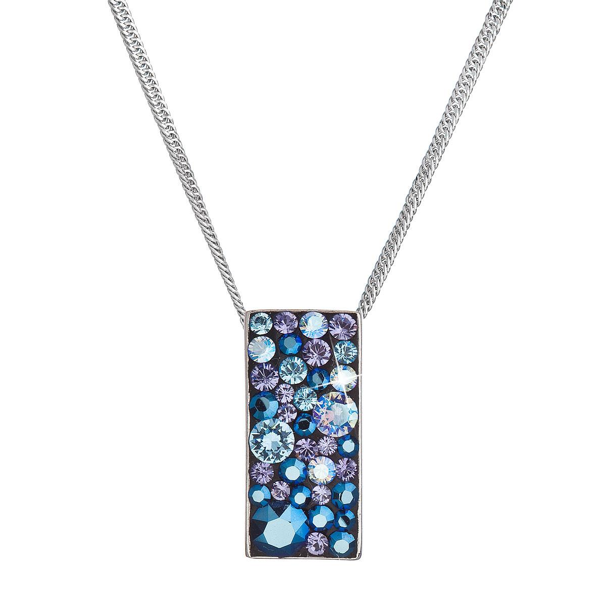Strieborný náhrdelník so Swarovski kryštálmi modrý obdĺžnik 32074.3 blue style