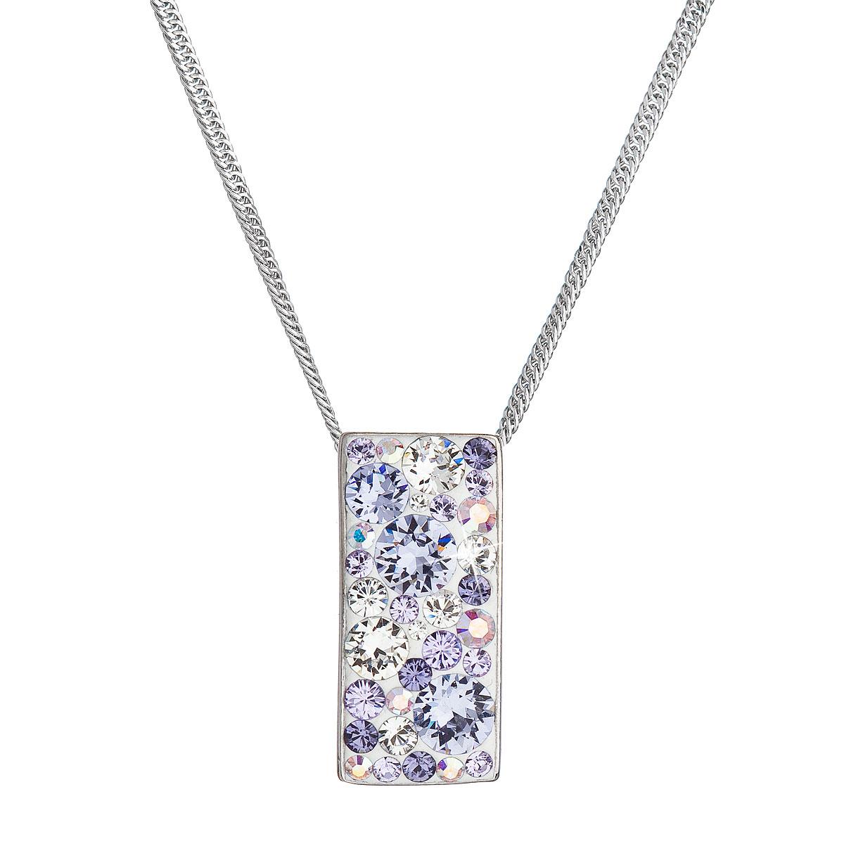 Strieborný náhrdelník so Swarovski kryštálmi fialový obdĺžnik 32074.3 violet