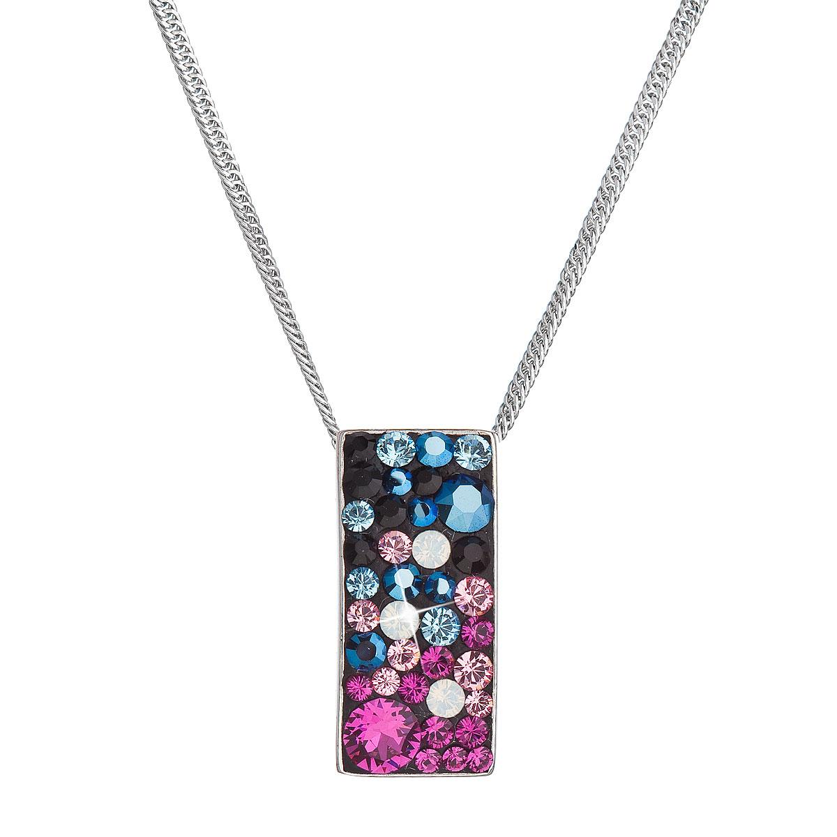 Strieborný náhrdelník so Swarovski kryštálmi obdĺžnik 32074.4 galaxy