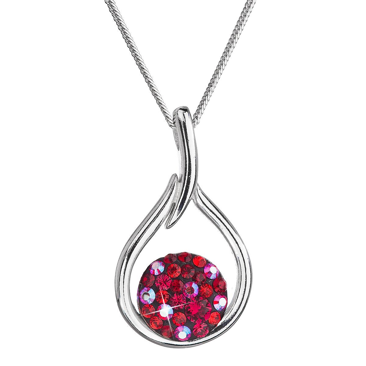Strieborný náhrdelník so Swarovski kryštálmi kvapka 32075.3 cherry