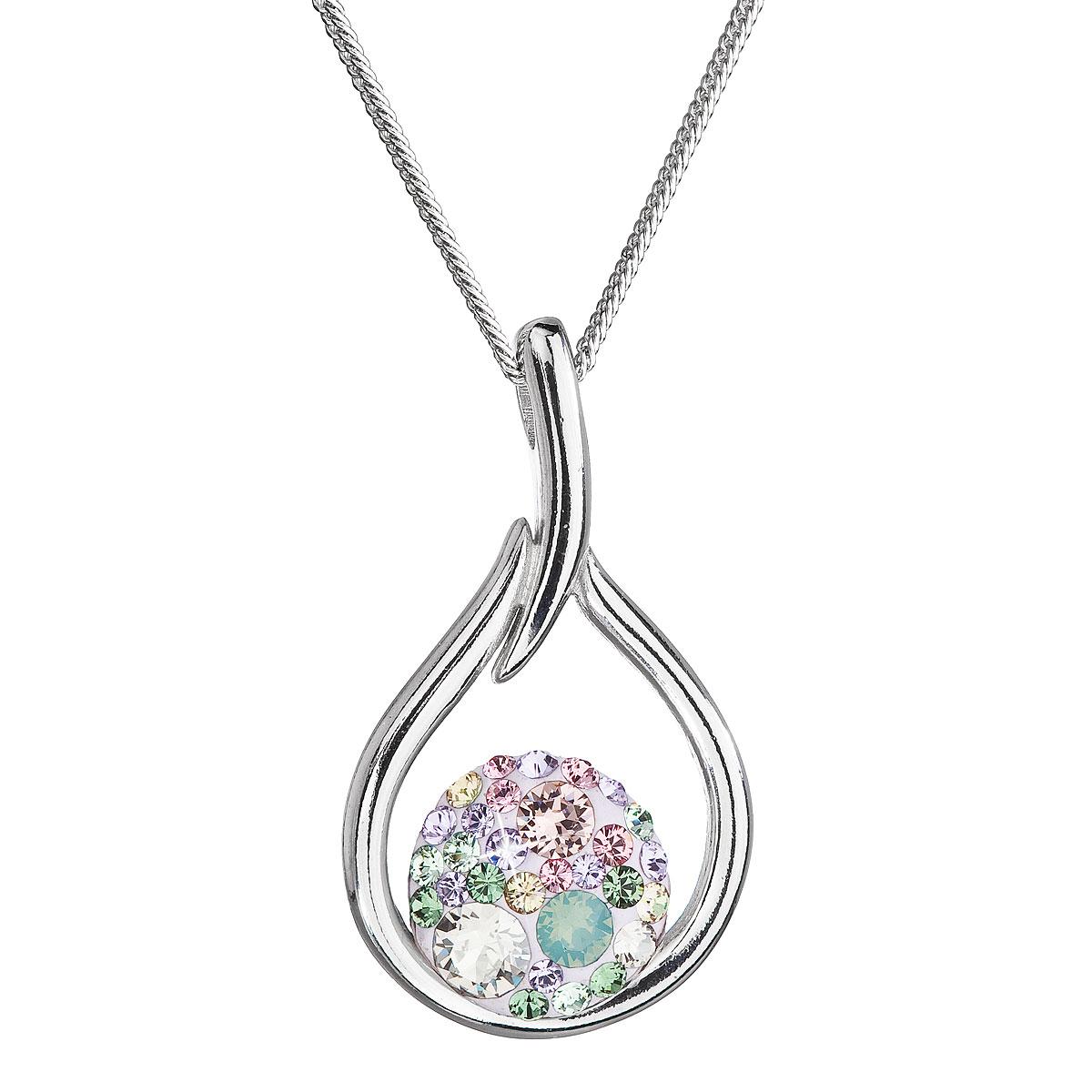 Strieborný náhrdelník so Swarovski kryštálmi kvapka 32075.3 sakura