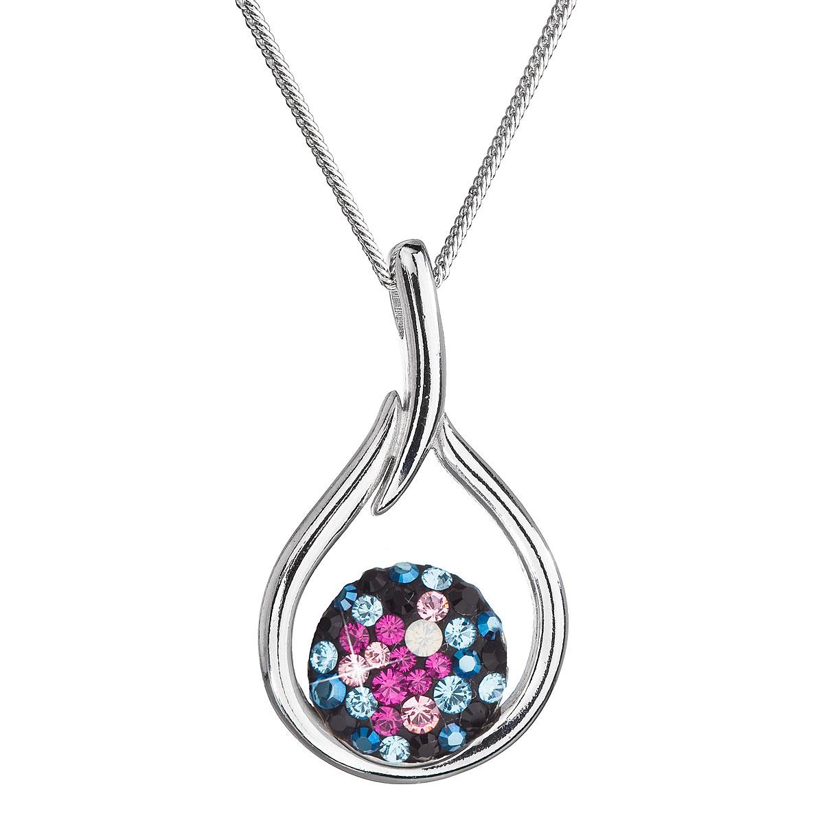 Strieborný náhrdelník so Swarovski kryštálmi kvapka 32075.4 galaxy