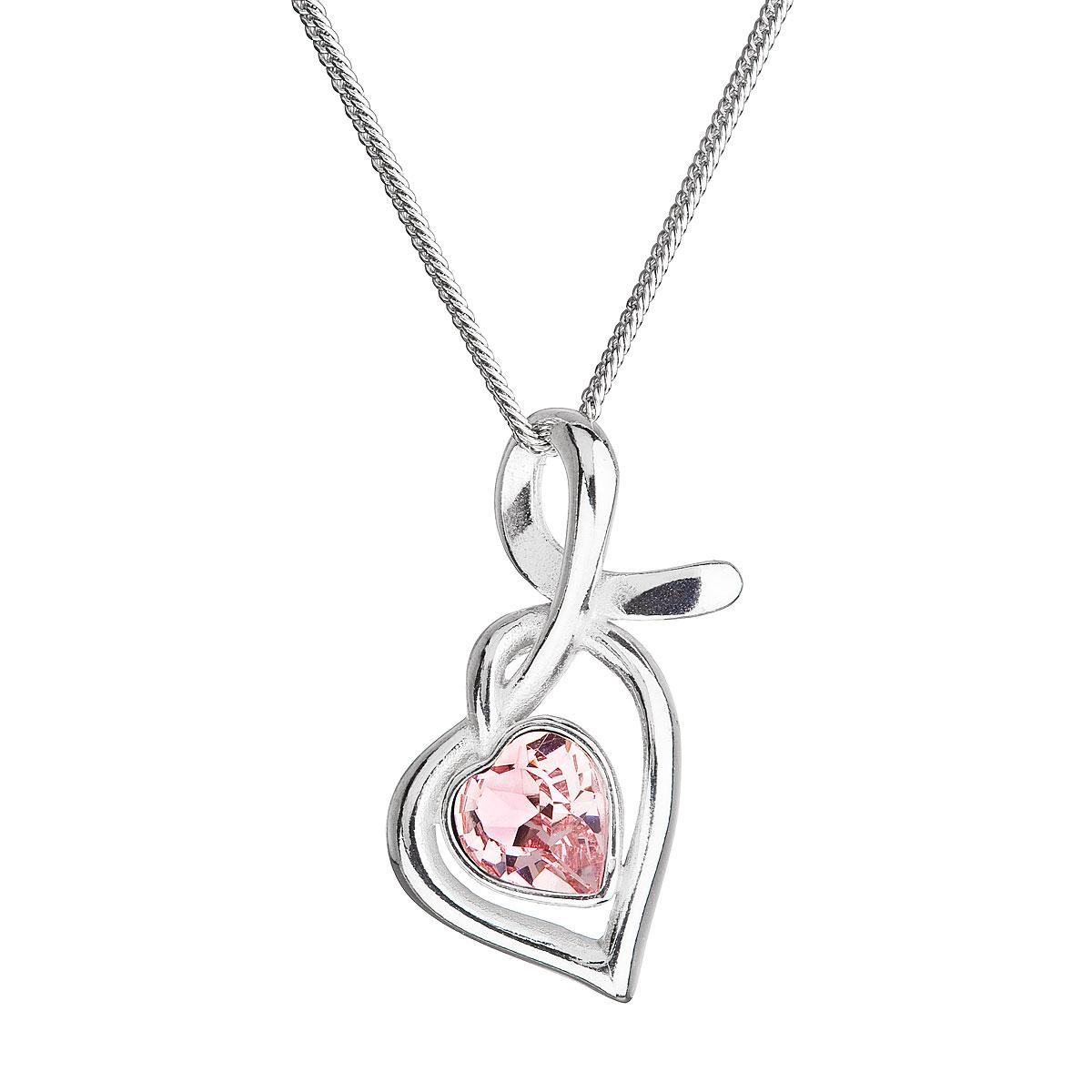 Strieborný náhrdelník so Swarovski kryštálmi srdce ružové 32071.3