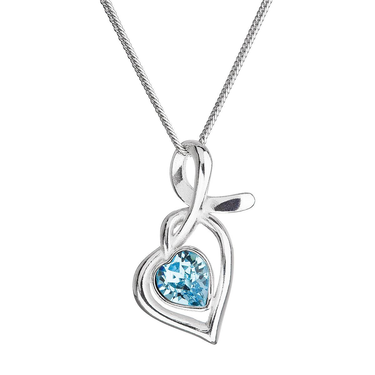 Strieborný náhrdelník so Swarovski kryštálmi srdce modré 32071.3