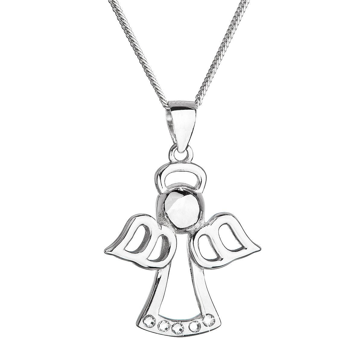 Strieborný náhrdelník anjel so Swarovski kryštálmi biely 32076.1