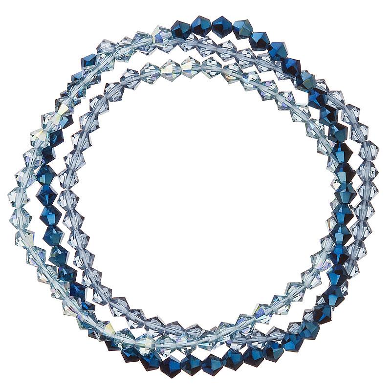 Náramok so Swarovski krištáľmi modrý 33081.5 metalic denim