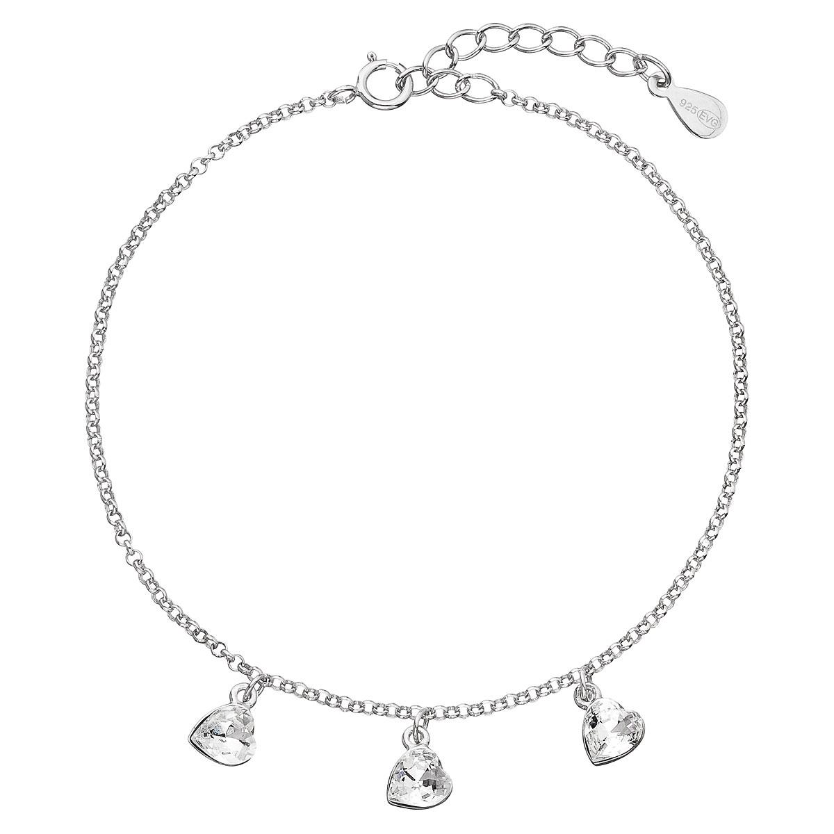 Strieborný náramok so Swarovski krištáľmi biele srdce 33108.1