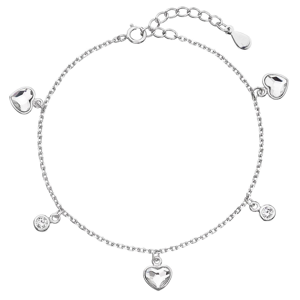 Strieborný náramok so Swarovski krištáľmi biele srdce 33114.1