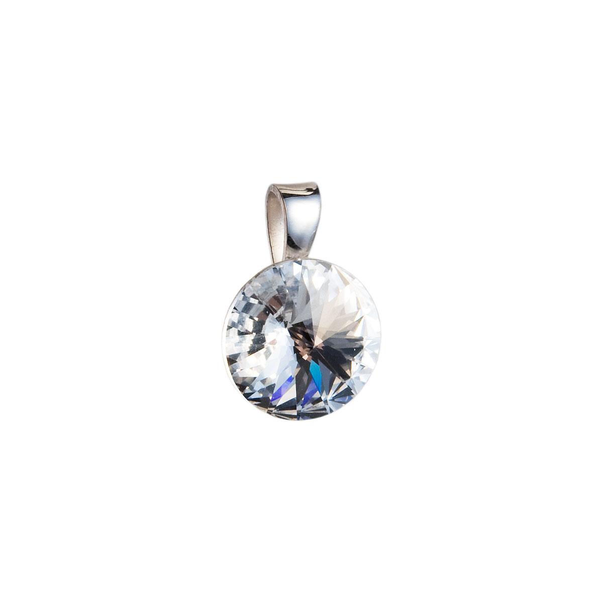 Strieborný prívesok s krištáľmi Swarovski biely okrúhly-rivoli 34112.1