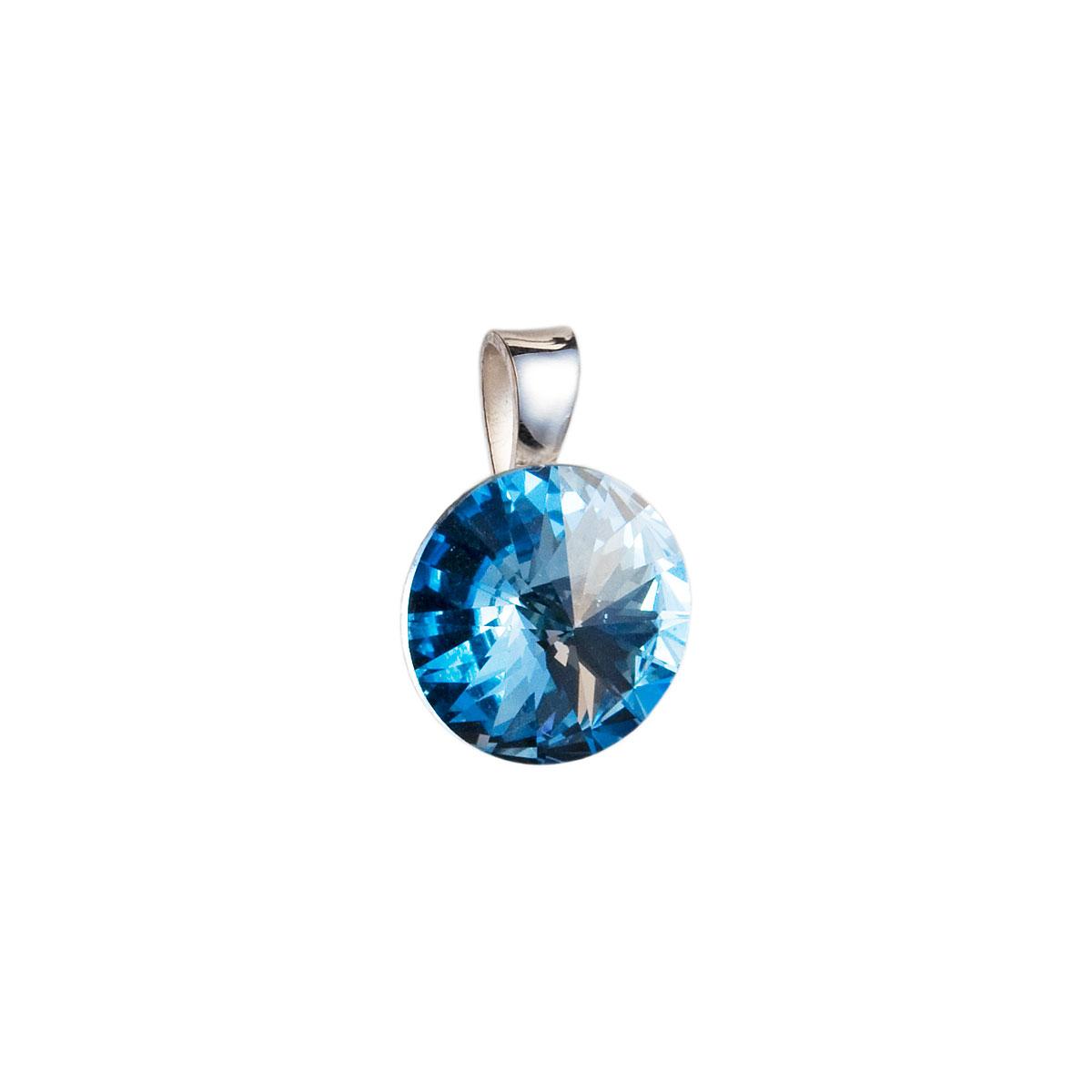 Strieborný prívesok s krištáľmi Swarovski modrý okrúhly-rivoli 34112.3