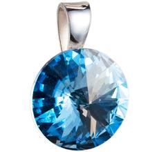 Strieborný prívesok s kryštálmi Swarovski modrý okrúhly-rivoli 34112.3 0463ae689a8