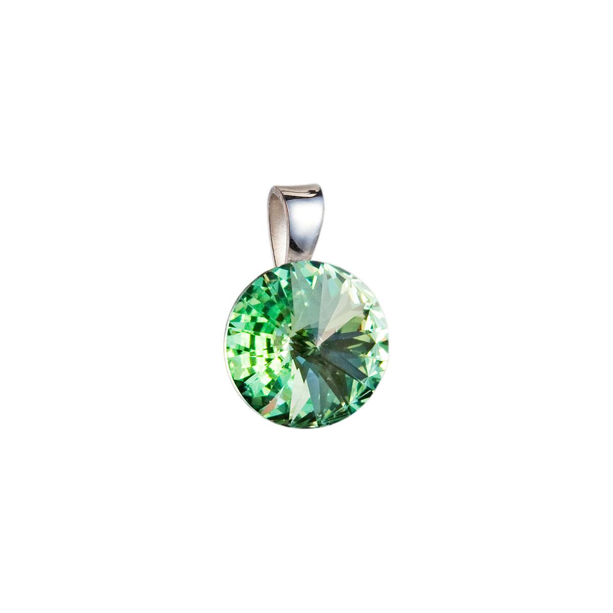 Strieborný prívesok s krištáľmi Swarovski zelený okrúhly-rivoli 34112.3