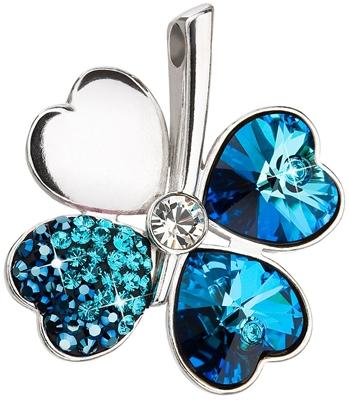 Strieborný prívesok s krištálmi modrý štvorlístok 34163.5 bermuda blue 4ece33a3029