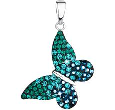 Strieborný prívesok s krištáľmi Swarovski zelený motýľ 34192.3 7adc18aa523