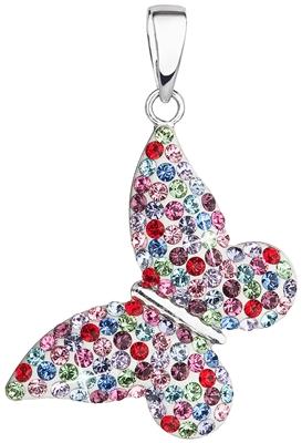 Strieborný prívesok s kryštálmi Swarovski mix farieb motýľ 34192.3 colormix efed35f2f78
