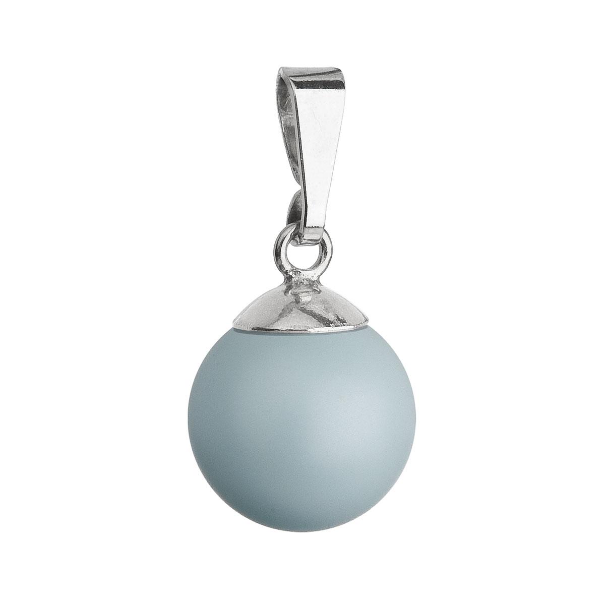 Strieborný prívesok s modrou pastelovou okrúhlou perlou 34150.3