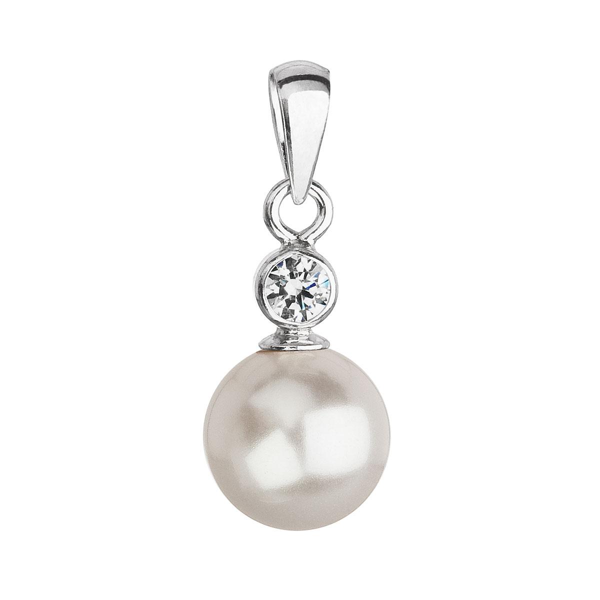 Strieborný prívesok s krištálom Swarovski a bielou okrúhlou perlou 34201.1