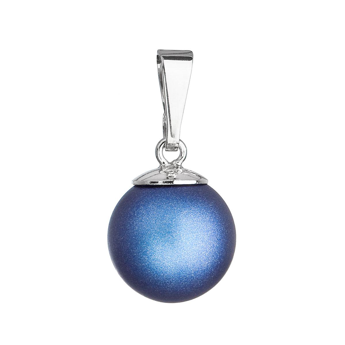 Strieborný prívesok s okrúhlou tmavomodrou matnou perlou 34150.3