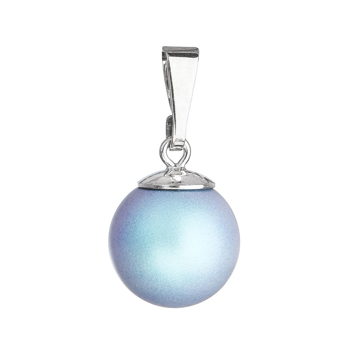 Strieborný prívesok s okrúhlou svetlomodrou matnou perlou 34150.3