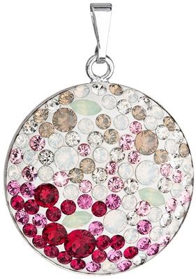 Strieborný prívesok s kryštálmi Swarovski mix farieb červenej okrúhly  34131.3 045e4eb8f33